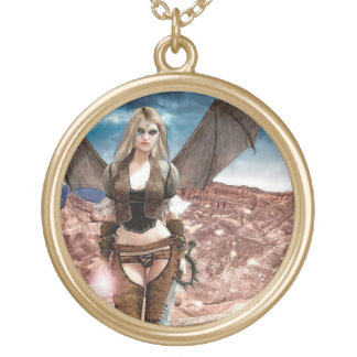 Steampunk Desert Fantasy  Digital Artwork Poster Gold Plated Necklace