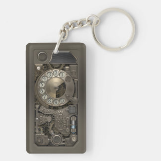 Steampunk Device - Rotary Dial Phone. Double-Sided Rectangular Acrylic Key Ring