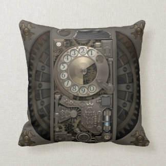 Steampunk Device - Rotary Dial Phone. Throw Pillow
