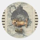 Steampunk Dirigible Balloon Ride Classic Round Sticker