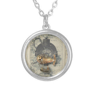 Steampunk Dirigible Balloon Ride Silver Plated Necklace