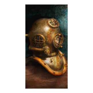 Steampunk - Diving - The diving helmet Customized Photo Card