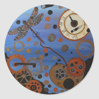 Steampunk dragonfly and heart round sticker