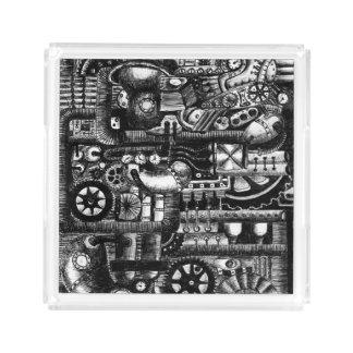 steampunk draw machinery cartoon mechanism pattern acrylic tray