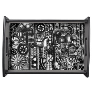 steampunk draw machinery cartoon mechanism pattern serving tray
