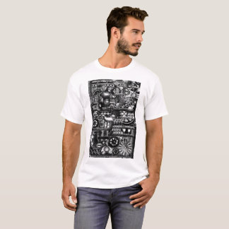 steampunk draw machinery cartoon mechanism pattern T-Shirt
