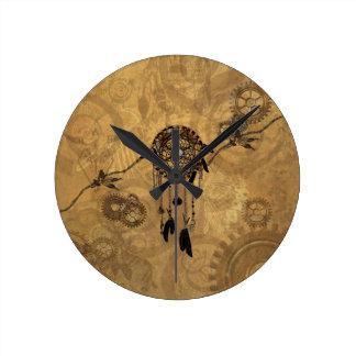 Steampunk Dreamcatcher Round Clock