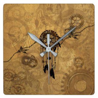 Steampunk Dreamcatcher Square Wall Clock