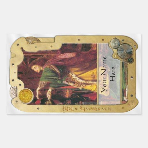 Steampunk Ex Libris - Morgan La Fey Book Plate Rectangle Sticker