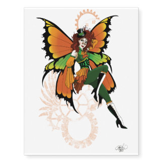 Steampunk fairy all in orange and green
