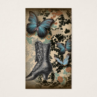 steampunk floral butterfly vintage shoe Victorian Business Card