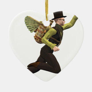 Steampunk Flyer Taking Off Ceramic Heart Decoration
