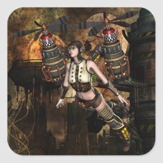 steampunk flying girl stickers