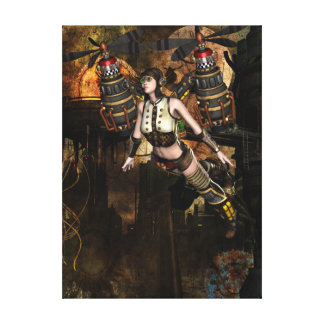 steampunk flying girl wrapped canvas