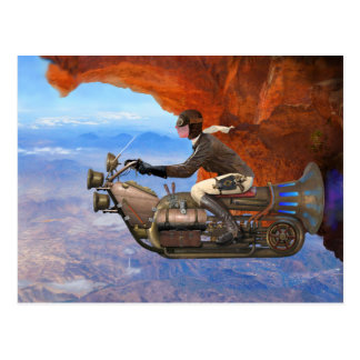 Steampunk Flying Machine Postcard