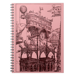 Steampunk Flying Over Paris Notebooks