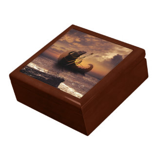 Steampunk Fractalscape, Ship for All Destinations Large Square Gift Box