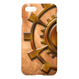 Steampunk Gear on Tan Leather-look 3 Phone Case
