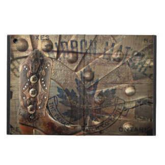 Steampunk gear western country cowboy boot case for iPad air