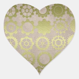 Steampunk Gears and Cogs Art Heart Sticker