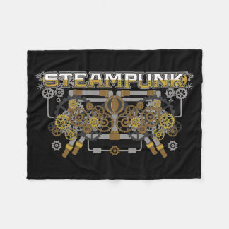 Steampunk Gears and Pipes Machine Fleece Blanket