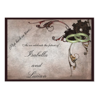 Steampunk Gears and Wedding Rings Invitation