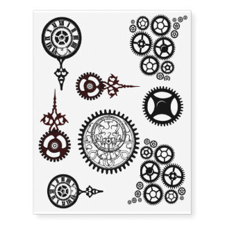 Steampunk Gears! Clock, Pocket watch temp tats