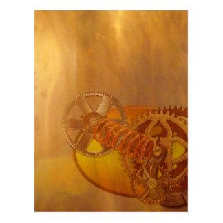 steampunk gears cogs mechanics design postcard