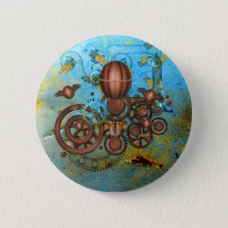 Steampunk Gears Collage Aqua Copper Button