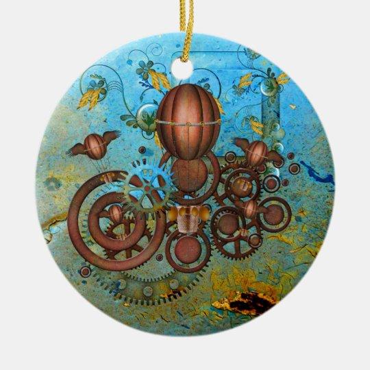 Steampunk Gears Collage Aqua Copper Ornament