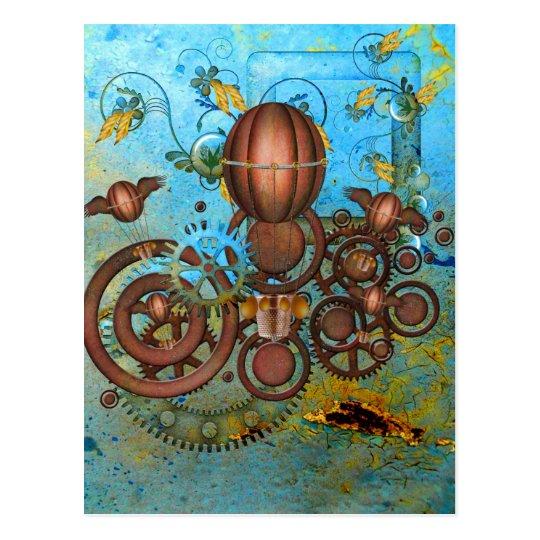 Steampunk Gears Collage Aqua Copper Postcard