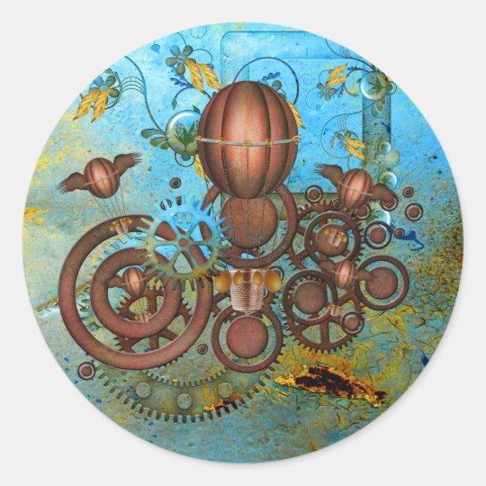 Steampunk Gears Collage Aqua Copper Sticker