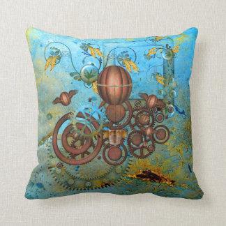 Steampunk Gears Collage Aqua Copper Throw Pillow