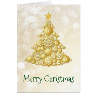 Steampunk Gears Gold Christmas Tree Card