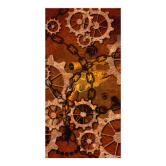 Steampunk, gears in rusty metal photo card