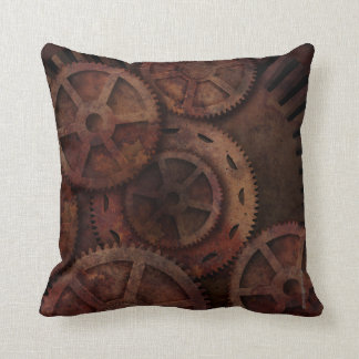 Steampunk Gears Industrial Fashion Cushion
