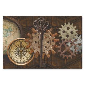 Steampunk Gears on Coppery-look Geometric Design Tissue Paper