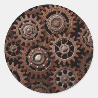Steampunk Gears Round Sticker