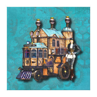 Steampunk Girl And Fantasy Locomotive Machine Canvas Print