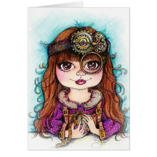 Steampunk Girl Card