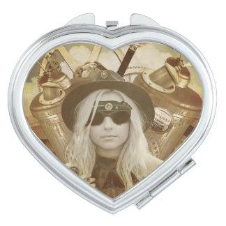 Steampunk Girl Travel Mirror