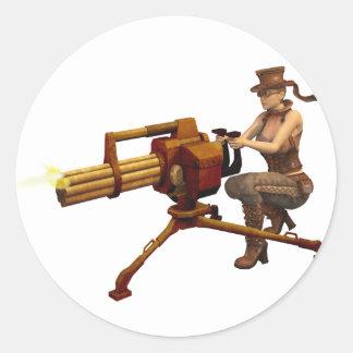Steampunk Girl with Gun Classic Round Sticker