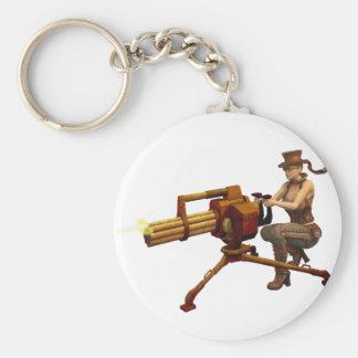 Steampunk Girl with Gun Key Chain