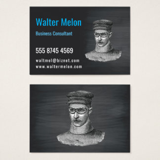 Steampunk Goggles Man Black Chalkboard Business Card