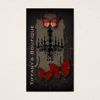 steampunk goth butterfly paris vintage chandelier business card