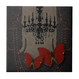 steampunk goth butterfly paris vintage chandelier ceramic tile