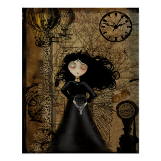 Steampunk Goth Girl Art Poster