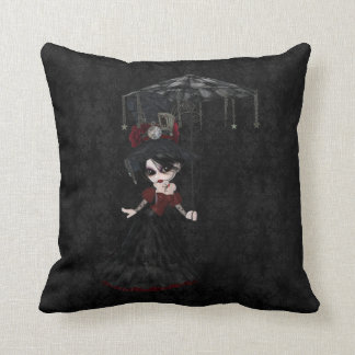 Steampunk Goth Girl Black Damask Pillow