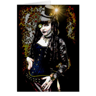 Steampunk Gothic Girl In Blue Greeting Card