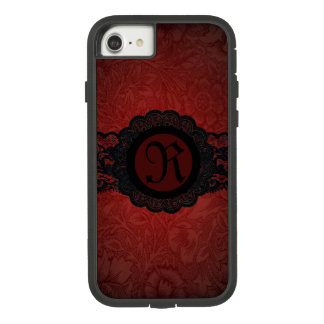 steampunk gothic victorian red black lace monogram Case-Mate tough extreme iPhone 8/7 case